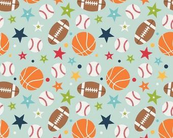 Sports fabric, Boy fabric, Football Fabric, Boy Nursery, Play Ball fabric by Riley Blake, Sports, Play Ball Main in Aqua, Choose your Cut