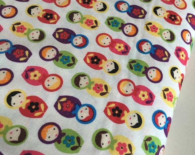 Suzy's Minis fabric, Matryoshka fabric, Doll fabric, Nesting doll, Mini Dolls in Bright White, Cotton fabric by the yard, Choose your cut