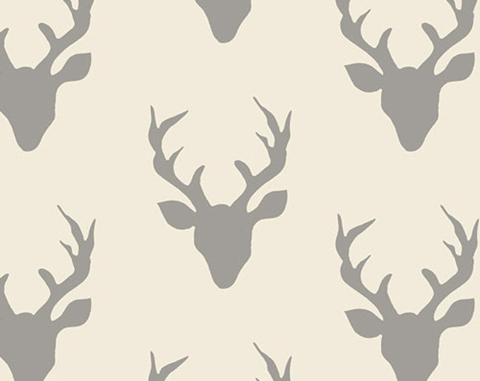 Hello Bear fabric, Sewing Fabric, Bonnie Christine for Art Gallery Fabrics, Ivory fabric- Woodland Animal, Buck Forest in Silver