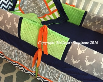 Custom Rustic Baby Crib Bedding Deer Arrows & Wood Grain Grey Navy Blue Orange and Lime Nursery Bumperless Set MADE To ORDER