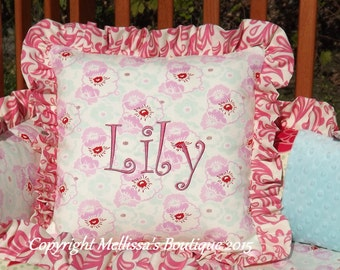 Custom Designer Decor Pillow with Ruffle(or Piping) and Custom Embroidery/Monogram/Name
