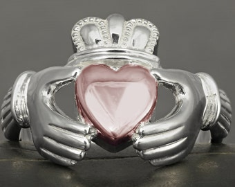 Large Claddagh ring in sterling silver with solid gold heart - Rose gold or yellow gold
