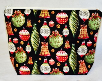 Christmas Themed Lined Wristlet Project Bag or Travel Pouch