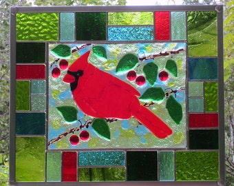 Red Cardinal with Red Berries and Green Leaves Fused Glass Panel with Multicolored Stained Glass Border Hanging Panel