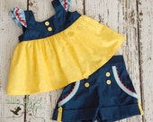 Fairest of Them All Tilly top and Sailor shorts