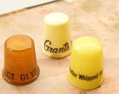 Vintage thimbles, advertising thimbles, sunbeam bread, grants fabrics, glynn for mayor
