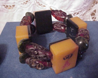 Translucent two color bakelite mah jong tile bracelet resin People