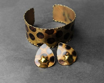 Brass Cuff Bracelet, Bracelet Set, Wide Cuff Bracelet, Statement Bracelet, For Her, Leopard African Brass Cuff and Earring Set V2
