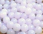 Violet Opal Czech Glass Beads Round Druk Milky Blue Purple 8mm (30)