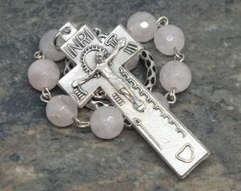 Irish Penal Chaplet of Faceted Rose Quartz Gemstone; 1 Decade Chaplet; Catholic Chaplet; Tenner Chaplet; Gemstone Chaplet