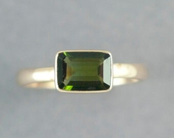 Gold Tourmaline Ring, Green Tourmaline Ring, Solid 14K Gold Ring, Forest Green Stone, Made to Order, Free Courier Shipping