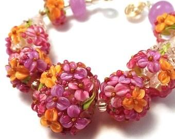 Raspberry Salsa Floral Bead Set
