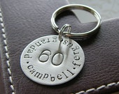 Custom Keychain - Personalized Hand Stamped Sterling Silver Key Chain - Birthday or Anniversary Milestone - Perfect Gift for Father's Day