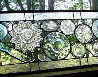 "Vintage Glass collage panel Grandma's Kitchen 28"" antique glassware art"