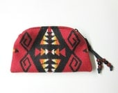 Wool Zippered Pouch Coin Purse Change Purse Cosmetic Bag Accessory Organizer Scarlet Red