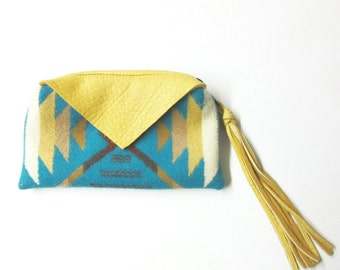 Zippered Pouch Wool Change Purse Coin Purse Yellow Elk Hide Leather Trim Inexpensive Gift Stocking Stuffer