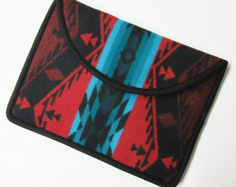 "13"" MacBook AIR or Macbook Pro RETINA Laptop Cover Sleeve Case Red Turquoise Wool from Pendleton Oregon"