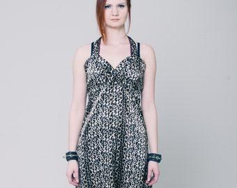 Leopard rockabilly dress, Brown and black leopard print size, leopard print dress, brown dress, halter dress, babydoll dress, summer dress