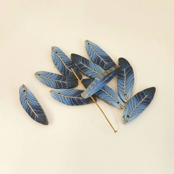 Navy Blue Feathers Deep Blue Feather Beads Polymer Clay