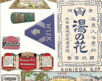 56 1930s plus Medicine cabinet Labels Drugstore,Pharmacy ,Poison ,BEAUTY,COSMETICS,French Perfume,Witch Hazel etc