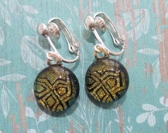 Clip On Earrings, Dichroic Bronze Brown, Golden Brown, Non Pierced Earrings, Fused Glass Jewelry - Said --6