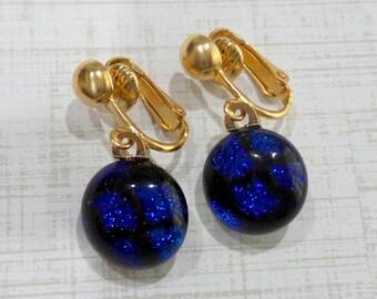 Blue Clip On Earrings, Royal Blue Dichroic Earrings, Dangle Clip Earring, Fused Glass Jewelry - Sealy- -6