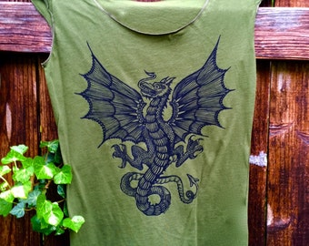 Dragon T-Shirt Celtic Wyvern Women's Green Snake Winged St George Jersey Cotton Stretchy Cap Sleeve Made In USA L, XL