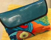 "14"" Envelope Clutch Bag, Asian Floral Print Fabric Laptop Sleeve, Portfolio Bag"