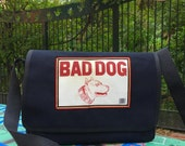 Black Canvas Bad Dog Courier Bag, Vegan Cross Body Messenger Bag