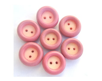 6 Vintage buttons, pink circle with white in the center 17mm