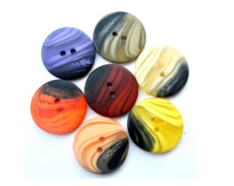 Vintage buttons, set of 7 colors, can be use as beads for button jewelry, 25mm