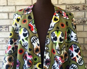 Plus Size Dia de los Muertos (Day of the Dead) Fleece Shrug Jacket