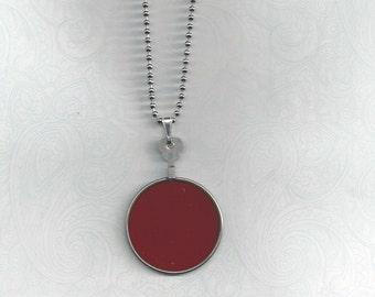 Dark Red Antique Optical Lens Necklace..