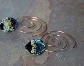 Copper coiled earwires with black Artisan lampwork drops