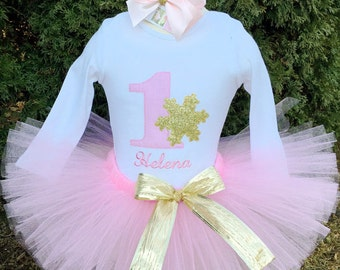 Baby Girl 1st Birthday Outfit - Pink and Gold - Winter ONEderland Tutu Set - ONE Birthday - Snowflakes