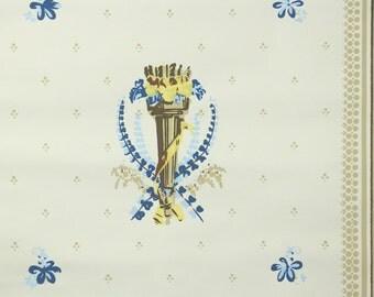 1950s Vintage Wallpaper by the Yard - Nancy McClelland- La Nancy Blue Yellow and Brown