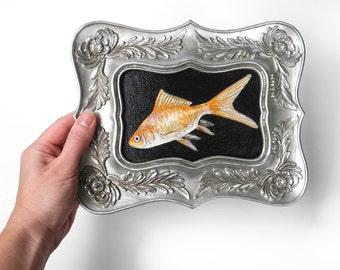 Goldfish painting - silver framed canvas art - gold fish sea creature - orange realistic fish painting - aquarium marine art