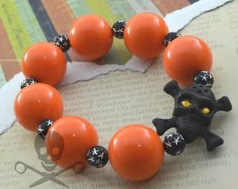 HALLOWEEN GHOUL - BRIGHT Orange Bubblegum Bead Black Silver Sparkle Goth Skull Matte Black Bead Stretch Bracelet