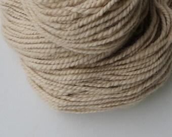 Alpaca Yarn, Handspun Yarn, Worsted, Tan 2 ply 6.5 oz