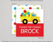 Construction Dump Truck and Bouncy Balls Party Square Gift Tag Set - Printable DIY with fully editable text