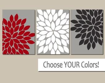 RED BLACK Gray Wall Art, CANVAS or Prints, Bedroom Pictures, Bathroom Artwork, Flower Burst Dahlia Petals, Home Decor, Wall Decor Set of 3