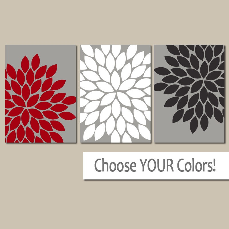 Red Black And Gray Wall Decor : Red black gray wall art canvas or prints bedroom pictures