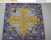 FlASH SALE Quilted Table Topper, Table Mat, Centerpiece, Plant Mat - Log Cabin Style - Purple and Yellow Floral - Ready To Ship!