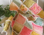 FlASH SALE Baby Rag Quilt, Quilted Blanket, Baby Blanket, Baby Quilt, Crib Blanket, Nursery Bedding, Crib Size, Aqua, Rose, Avocado - Ready