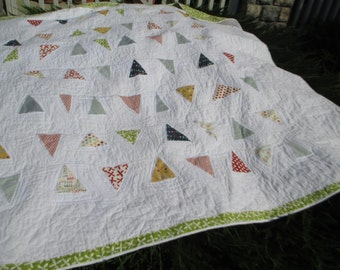 "Made to Order Full Sized Bunting Quilt with Sweetwater Fabrics from Moda 80"" x 88"""