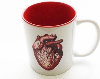 Coffee Mug Anatomical Heart medical coworker gift for him stocking stuffer men halloween home decor goth macabre human body cup anatomy geek