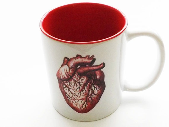 red Anatomical Heart MUG Halloween home kitchen decor goth macabre creepy spooky scary human body medical gift coffee drink beverage anatomy
