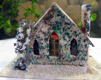 Vintage Cardboard Putz Glitter House Japan Christmas Holiday H7
