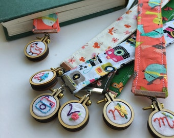 monogrammed mini hoop bookmark dangling hand embroidered unique art bookmarks gifts for photographers bird bookmark initial flower bookmark