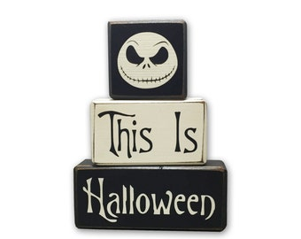 Nightmare Before Christmas Decor Jack Skellington this is halloween disney Halloween home decor wood sign, stacking wood sign blocks pumpkin